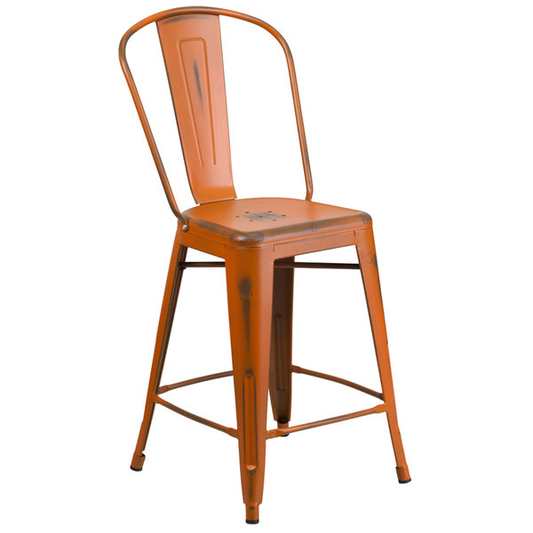 Flash Furniture ET-3534-24-OR-GG Distressed Orange Metal Counter Height  Stool with Vertical Slat Back ... - Furniture ET-3534-24-OR-GG Distressed Orange Metal Counter Height