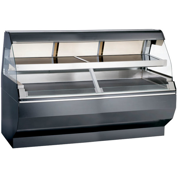 Alto-Shaam ED2SYS-72/2S BK Black Two-Tiered Heated Display Case with Curved Glass and Base - Self Service 72""