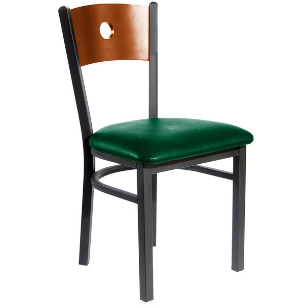 "BFM Seating 2152CGNV-CHSB Darby Sand Black Metal Side Chair with Cherry Wooden Back and 2"" Green Vinyl Seat"