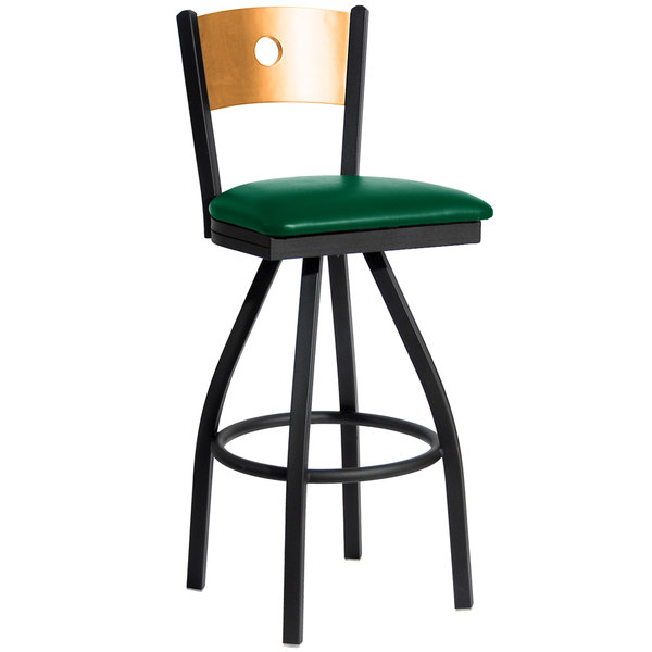 "BFM Seating 2152SGNV-NTSB Darby Sand Black Metal Bar Height Chair with Natural Wooden Back and 2"" Green Vinyl Swivel Seat"