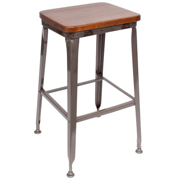 bfm seating js200bashcl lincoln clear coated steel bar stool with autumn ash wooden seat - Clear Bar Stools