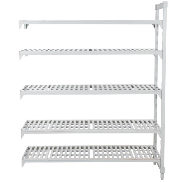 "Cambro CPA182472V5480 Camshelving Premium 5 Shelf Vented Add On Unit - 18"" x 24"" x 72"""