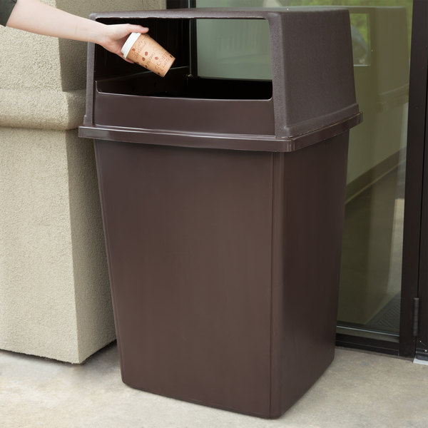 rubbermaid glutton 56 gallon brown trash can and lid