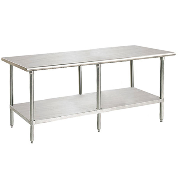 "Advance Tabco Premium Series SS-368 36"" x 96"" 14 Gauge Stainless Steel Commercial Work Table with Undershelf"