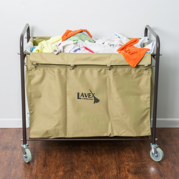 lavex laundry cart trash cart 12 bushel metal and canvas cart with handles