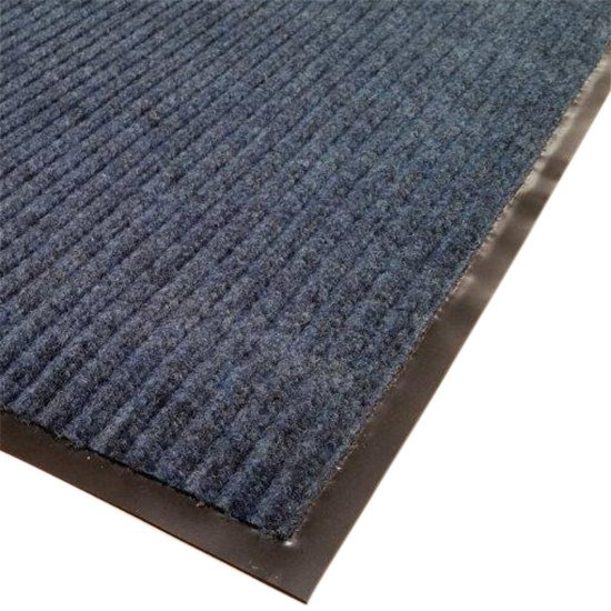 "Cactus Mat 1485M-U31 3' x 10' Blue Needle Rib Carpet Mat - 3/8"" Thick"
