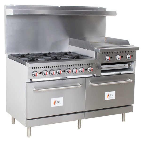 "Cooking Performance Group S60-GS24-N Natural Gas 6 Burner 60"" Range with 24"" Griddle/Broiler and 2 Standard Ovens - 276,000 BTU"