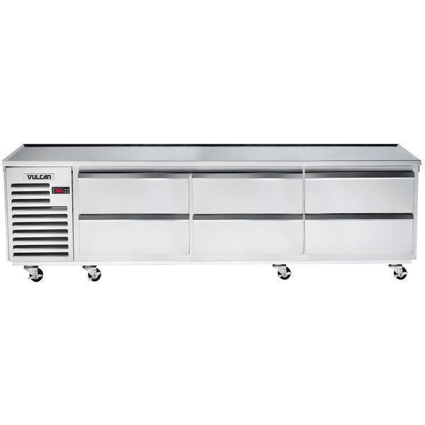 "Vulcan VR96 96"" 6 Drawer Remote Cooled Refrigerated Chef Base"