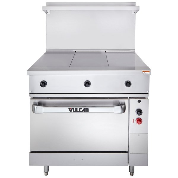 "Vulcan EV36S-3HT240 Endurance Series 36"" Electric Range with 3 Hot Tops and Oven Base - 240V, 20 kW"
