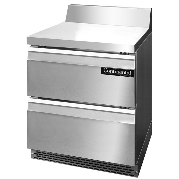 "Continental Refrigerator SWF27-BS-FB-D 27"" Front-Breathing Worktop Freezer with Two Drawers - 7.4 cu. ft."