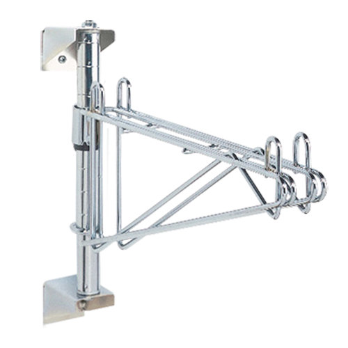 "Metro AW31C Super Erecta Chrome Single Level Post-Type Wall Mount Mid Unit for 18"" Deep Shelf"