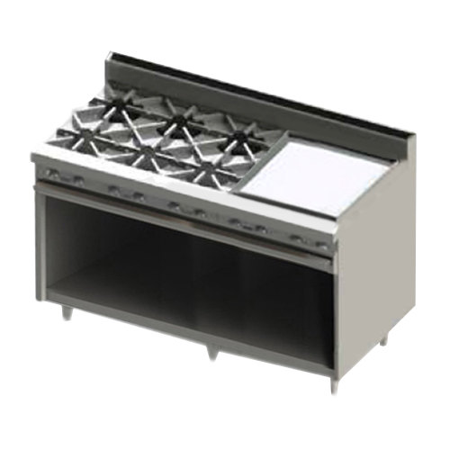 "Blodgett BR-6-24GT-NAT Natural Gas 6 Burner 60"" Thermostatic Range with 24"" Right Side Griddle and Cabinet Base - 228,000 BTU"