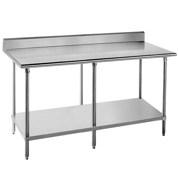 "Advance Tabco KLG-368 36"" x 96"" 14 Gauge Work Table with Galvanized Undershelf and 5"" Backsplash"