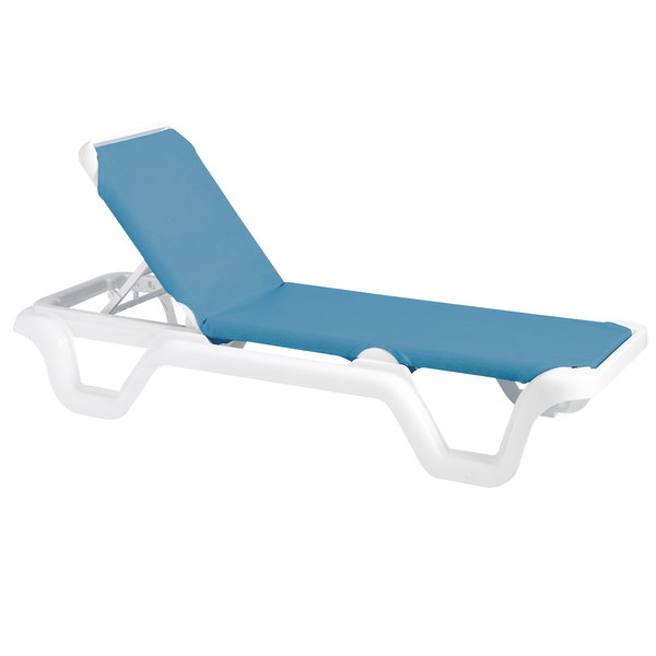 Grosfillex 99404194 / US404194 Marina White / Sky Blue Adjustable Sling Chaise Lounge Chair  sc 1 st  Webstaurant Store : chaise lounge blue - Sectionals, Sofas & Couches