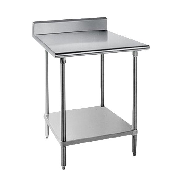 Advance Tabco Kag 363 36 X 36 16 Gauge Stainless Steel Commercial Work Table With 5 Backsplash And Galvanized Undershelf