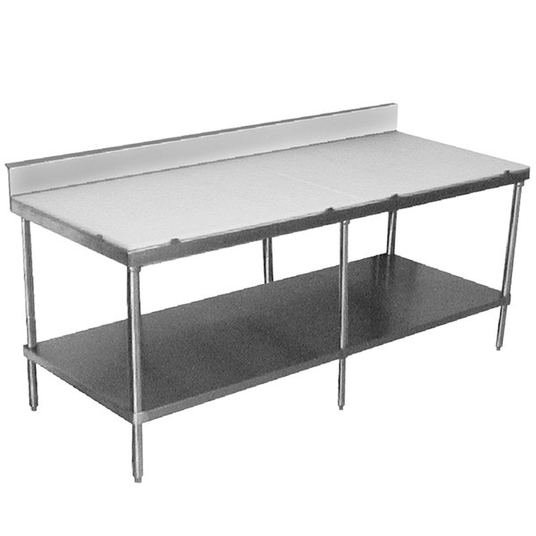 "Advance Tabco SPS-2410 Poly Top Work Table 24"" x 120"" with Undershelf and 6"" Backsplash"