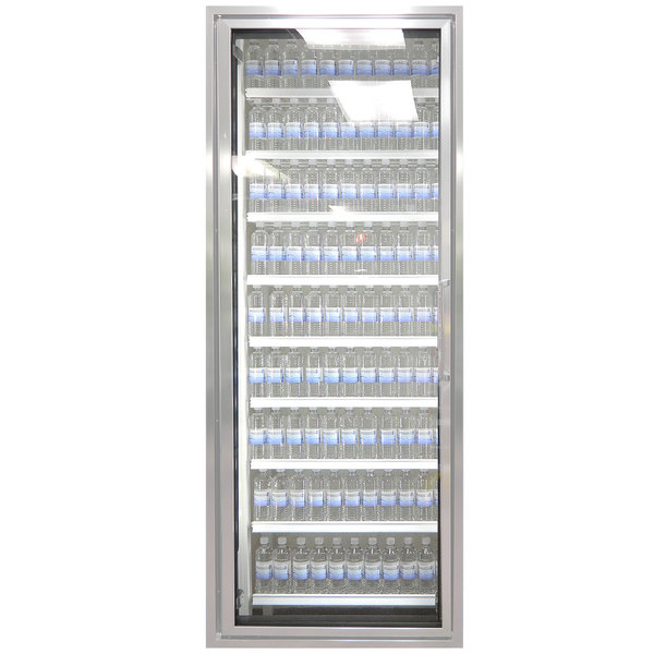 "Styleline ML2675-HH MOD//Line 26"" x 75"" Modular High Humidity Walk-In Cooler Merchandiser Door with Shelving - Bright Silver Smooth, Left Hinge"