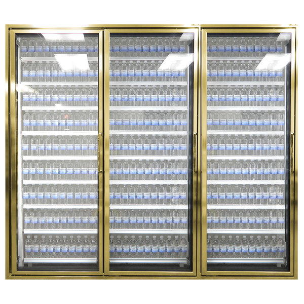 "Styleline CL3072-2020 20//20 Plus 30"" x 72"" Walk-In Cooler Merchandiser Doors with Shelving - Anodized Bright Gold, Left Hinge - 3/Set"