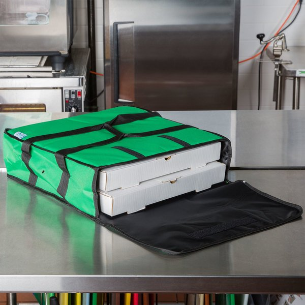 "Choice Soft-Sided Insulated Pizza Delivery Bag, Green Nylon, 18"" x 18"" x 5"" - Holds Up To (2) 16"" Pizza Boxes or (1) 18"" Pizza Box"