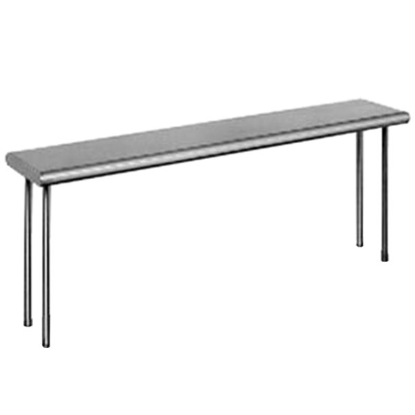 "Eagle Group OS1084-16/4 Table Mount Type 430, 16 Gauge Stainless Steel Single Overshelf - 84"" x 10"" x 18"""
