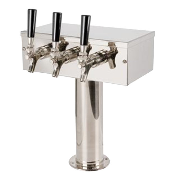 "Micro Matic D7743PSSKR Stainless Steel Kool-Rite Glycol Cooled 3 Tap ""T"" Style Tower - 3"" Column"