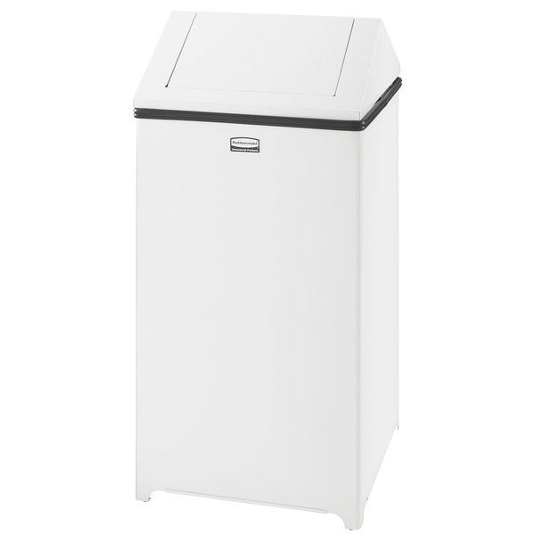 rubbermaid wastemaster white stainless steel swing top 29 gallon trash can