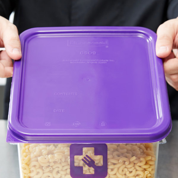rubbermaid colorcoded 2 4 6 and 8 qt purple square food storage container lid