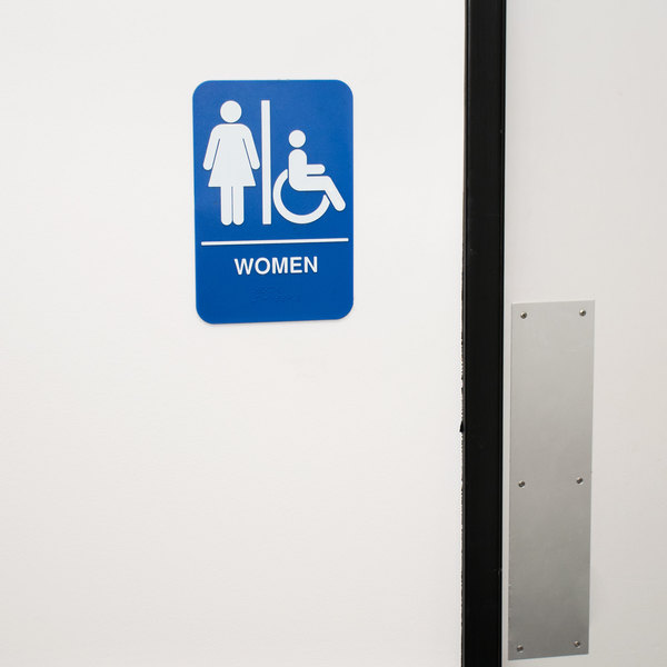 "ADA Women's Restroom Sign with Braille - Blue and White, 9"" x 6"""