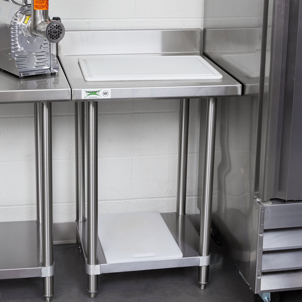 Regency Spec Line 24 X 24 14 Gauge Stainless Steel Commercial Work Table With 4 Backsplash And Undershelf
