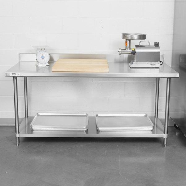 Regency Spec Line 30 X 72 14 Gauge Stainless Steel Commercial Work Table With 4 Backsplash And Undershelf