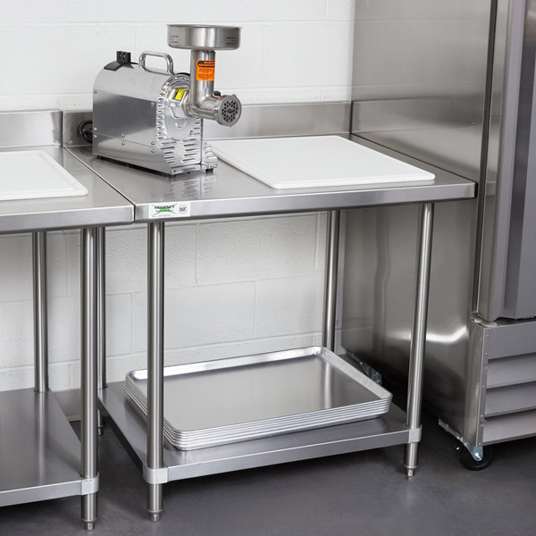 Regency Spec Line 30 X 36 14 Gauge Stainless Steel Commercial Work Table With 4 Backsplash And Undershelf