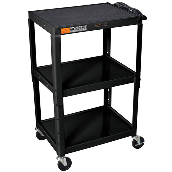 "Luxor W42AE Black Metal 3 Shelf A/V Utility Cart 18"" x 24"" x 42"" - Adjustable Height"