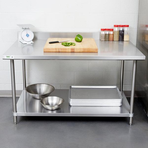 Regency 36 X 60 16 Gauge Stainless Steel Commercial Work Table With 4 Backsplash And Undershelf