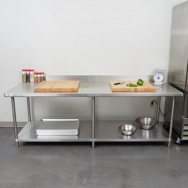 Regency Spec Line 36 X 96 14 Gauge Stainless Steel Commercial Work Table With 4 Backsplash And Undershelf
