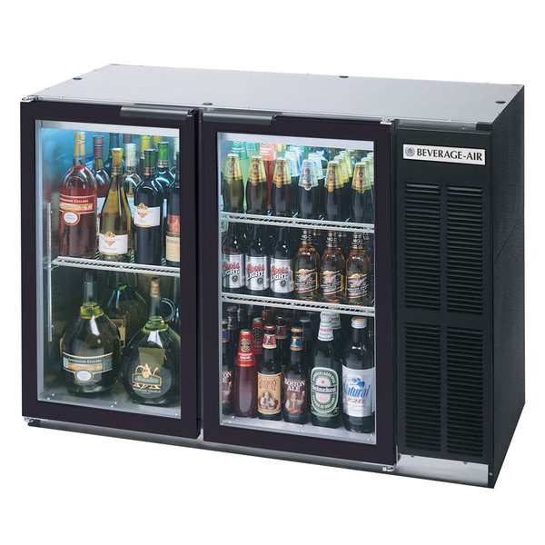 "Beverage Air BB48GY-1-B-27-LED 48"" Back Bar Refrigerator with 2 Glass Doors and Stainless Steel Top - 115V"