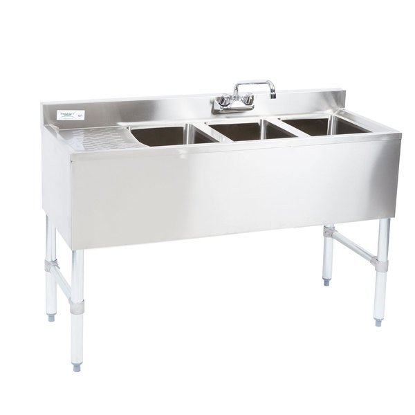 Regency 3 Bowl Underbar Sink with Drainboard and Faucet - 48\