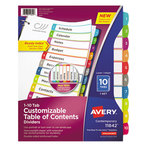 Avery 11842 ready index 10 tab multi color customizable for Avery table of contents template 10 tab