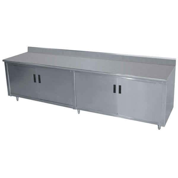 "Advance Tabco HK-SS-367 36"" x 84"" 14 Gauge Enclosed Base Stainless Steel Work Table with Hinged Doors and 5"" Backsplash"