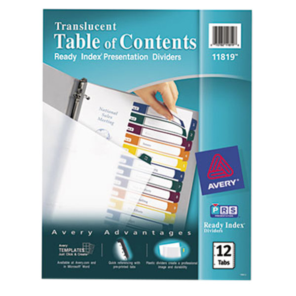 avery table of contents template 15 tab - avery 11819 ready index 12 tab multi color customizable