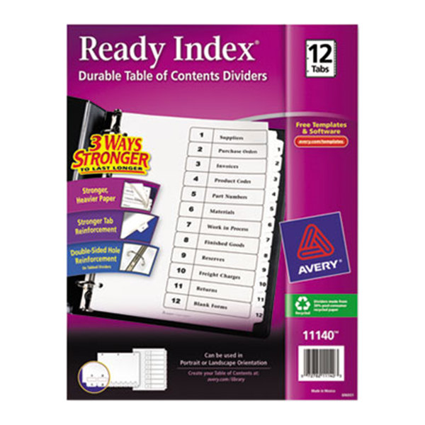 Avery 11140 ready index 12 tab white table of contents for Avery ready index template 12 tab
