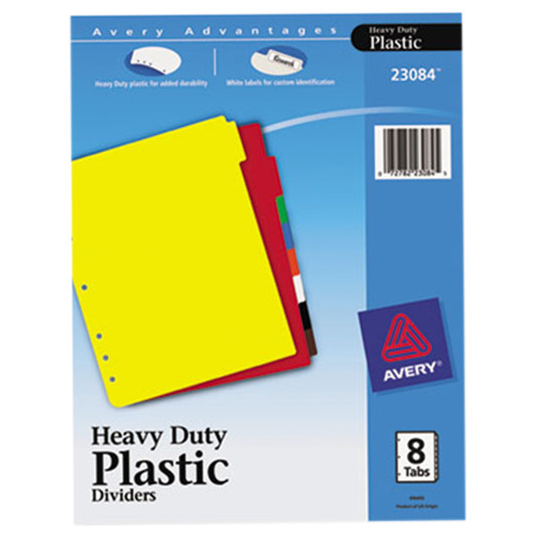 avery ave23084 8 tab heavy duty plastic multi color dividers with write on labels - Avery Colored Labels