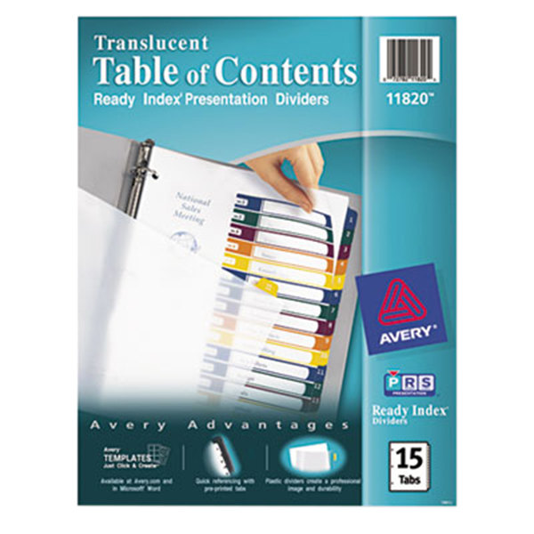 Avery 11820 ready index 15 tab multi color customizable for Avery table of contents template 15 tab