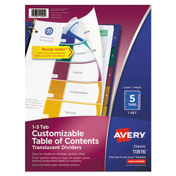 Avery ave11816 ready index 5 tab multi color plastic table for Avery table of contents template 10 tab