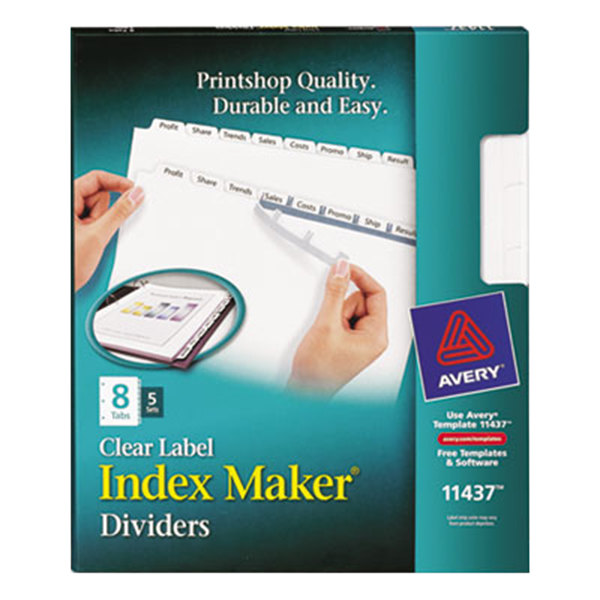 Avery 11437 Index Maker 8 Tab White Divider Set With Clear Label