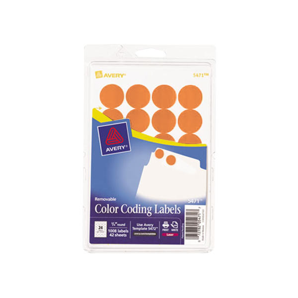 "Avery 5471 3/4"" Neon Orange Round Removable Write-On"