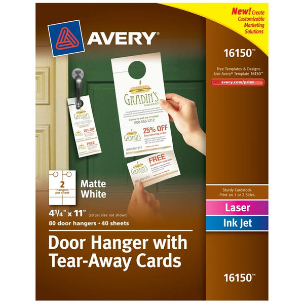 Avery    X  Printable Door Hanger With TearAway Cards