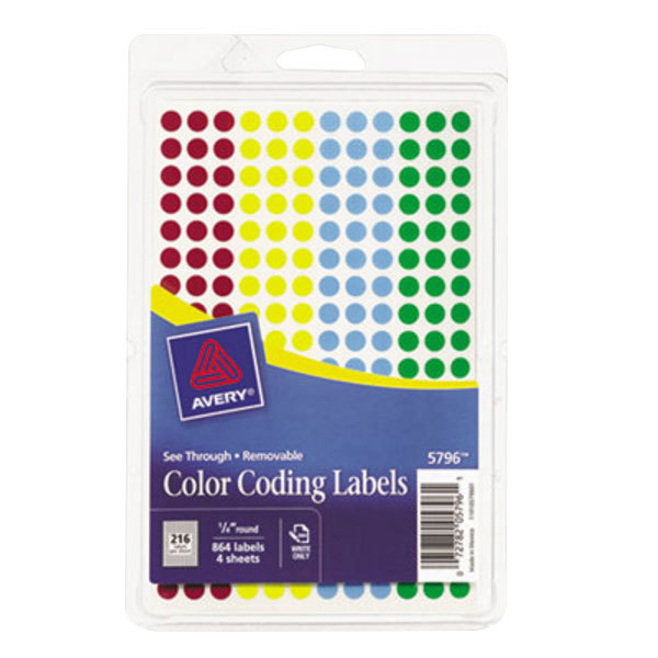 avery ave05796 14 round assorted removable see through color coding dot labels 864pack - Avery Colored Labels