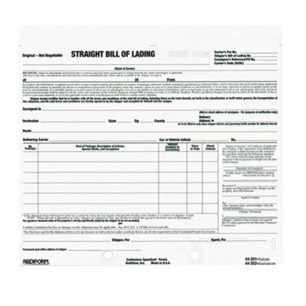 "Rediform Office 44301 7"" X 8 1/2"" 3-Part Carbonless Bill Of Lading"