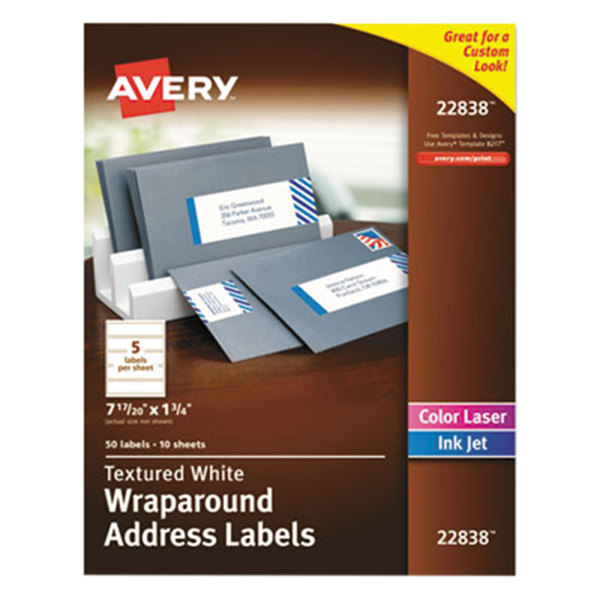 avery ave22838 1 34 x 7 1720 white rectangular textured wraparound address labels 50pack - Avery Colored Labels