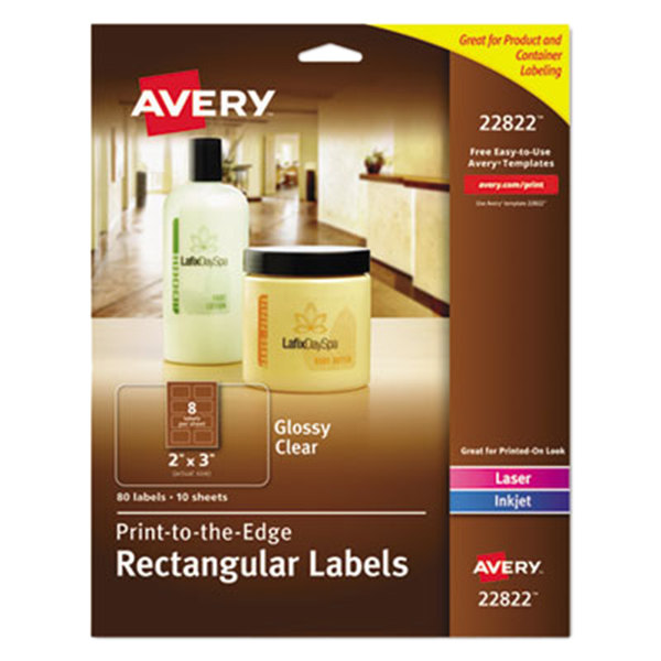 Avery 22822 Easy Peel 2 X 3 Clear Glossy Rectangular Print To The